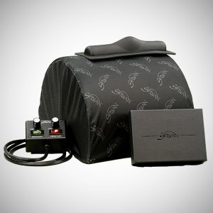 Sybian Cover in black with dark grey logo on Sybian ride-on se machine
