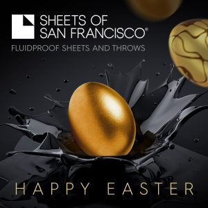 Golden Easter Egg nestling in a black splash on a black background White Sheets of san Francisco Logo and Happy Easter Message