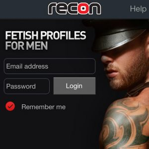 Watersports fetish interest group launch illustrated by Recon login page image of head and shoulders of man with tattoos and wearing a black naked cap